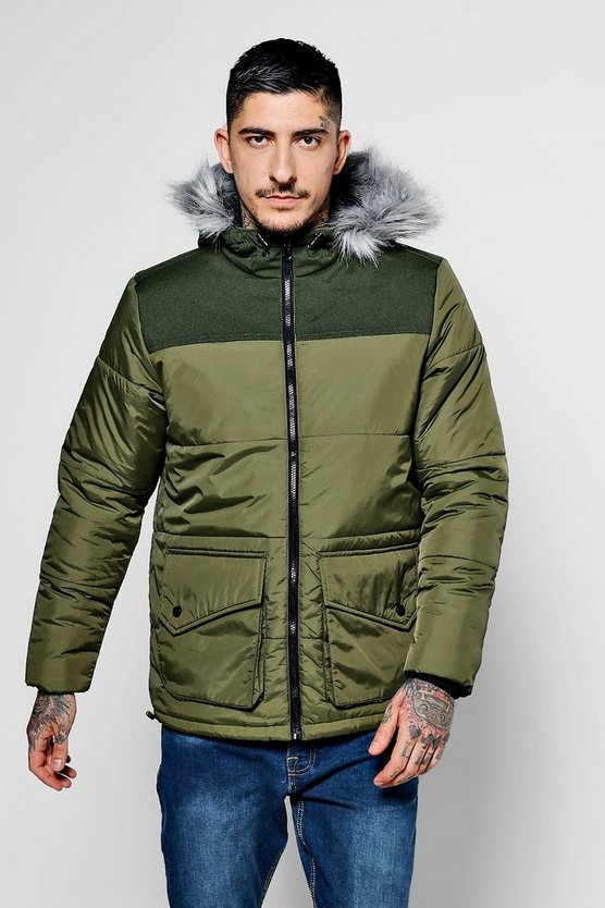 Khaki Short Quilted Jacket