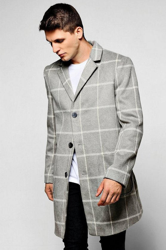 Grey Wool Mix Check Overcoat