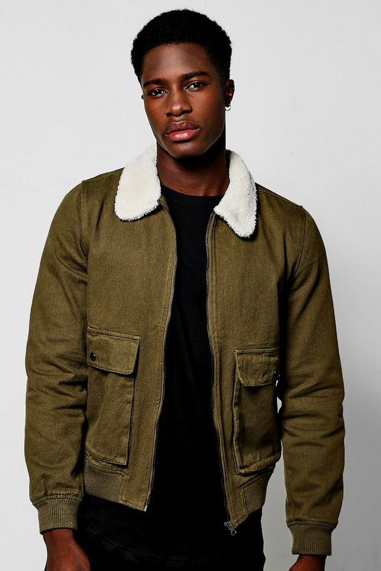 Khaki Zip Through Flight Jacket
