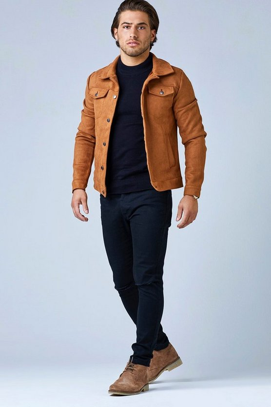 Tan Faux Suede Trucker Jacket
