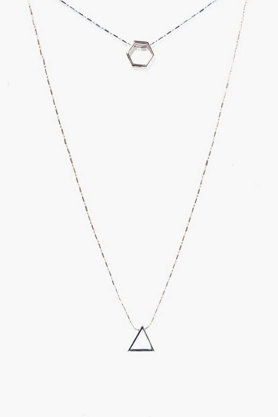 Multi Layer Geo Charm Necklace