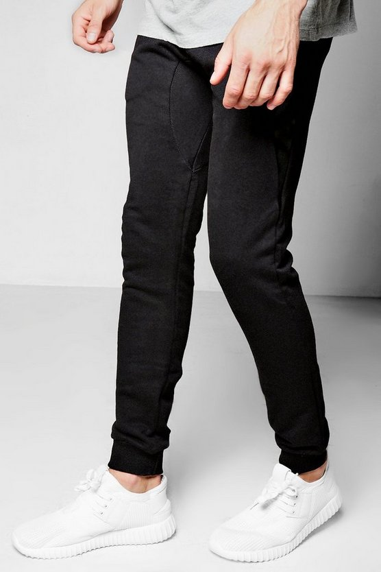 Skinny Fit Joggers With PU Trim Pocket