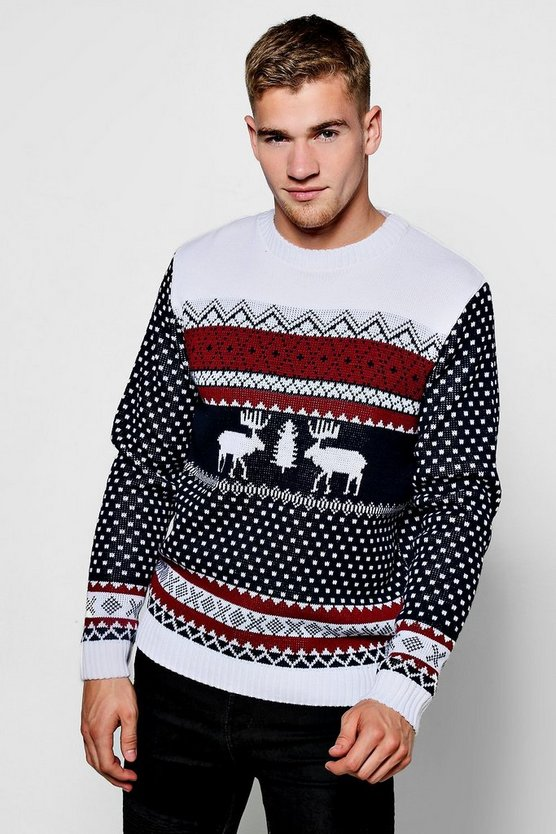 Navy Reindeer Fairisle Christmas Jumper