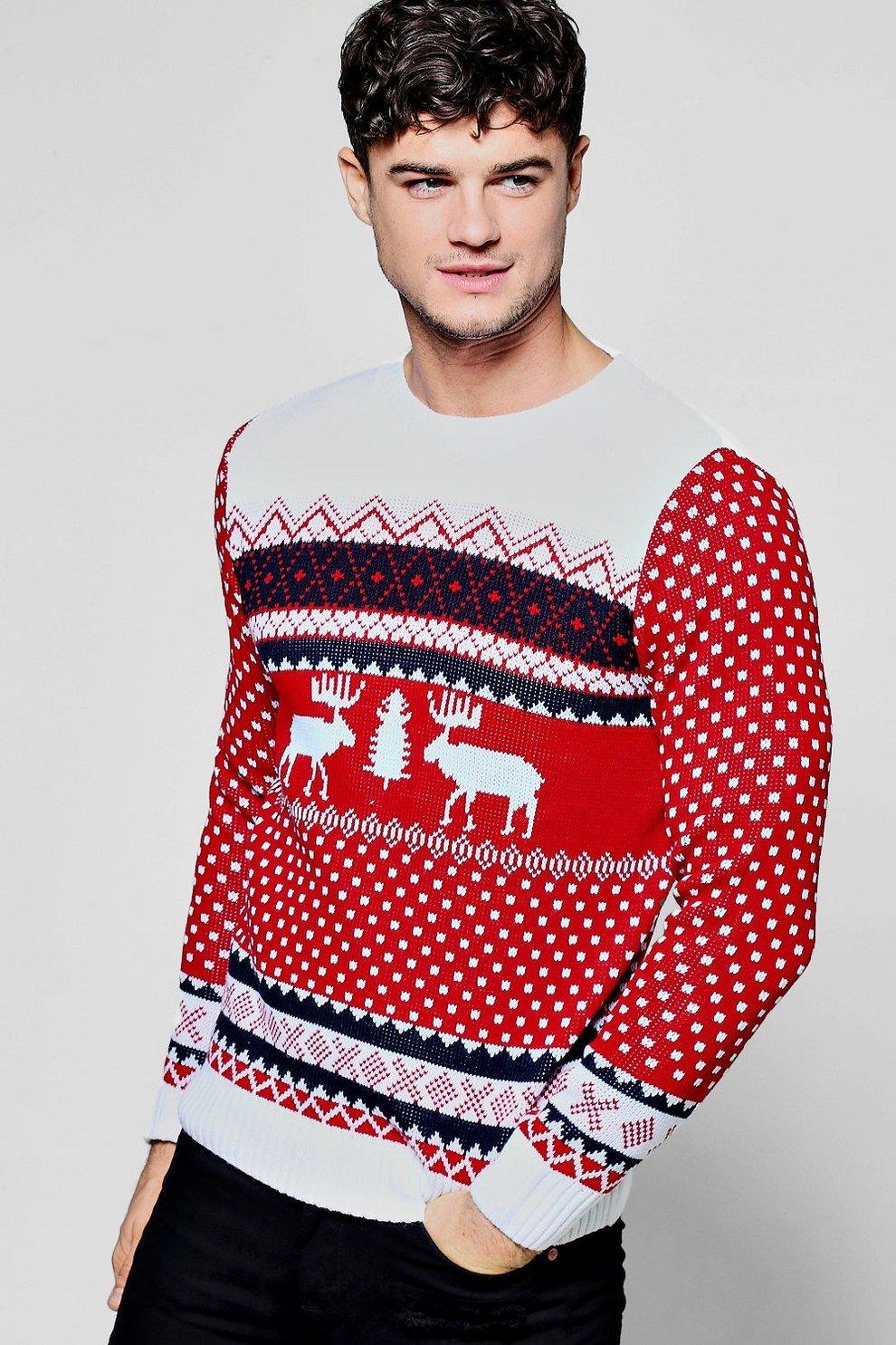 Red Reindeer Fairisle Christmas Jumper | Boohoo