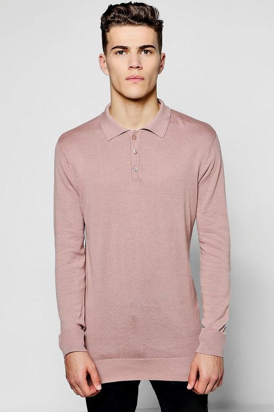 Long Sleeve Knitted Cotton Polo