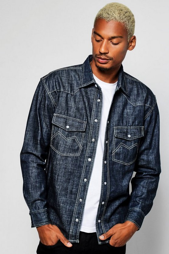 Long Sleeve Dark Blue Denim Western Shirt