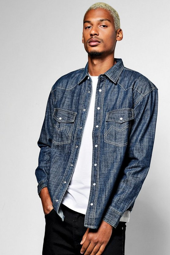 Long Sleeve Mid Blue Denim Western Shirt