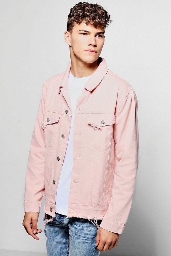 Dusky Pink Denim Jacket With Raw Hem