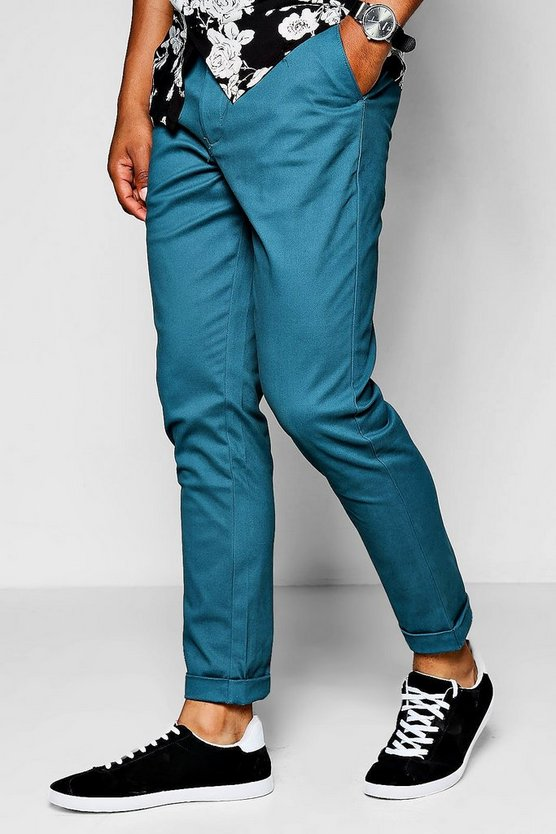 Teal Tapered Fit Chino With Stretch