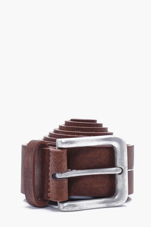 Stitch PU Belt - brown - Stud Stitch PU Belt - bro