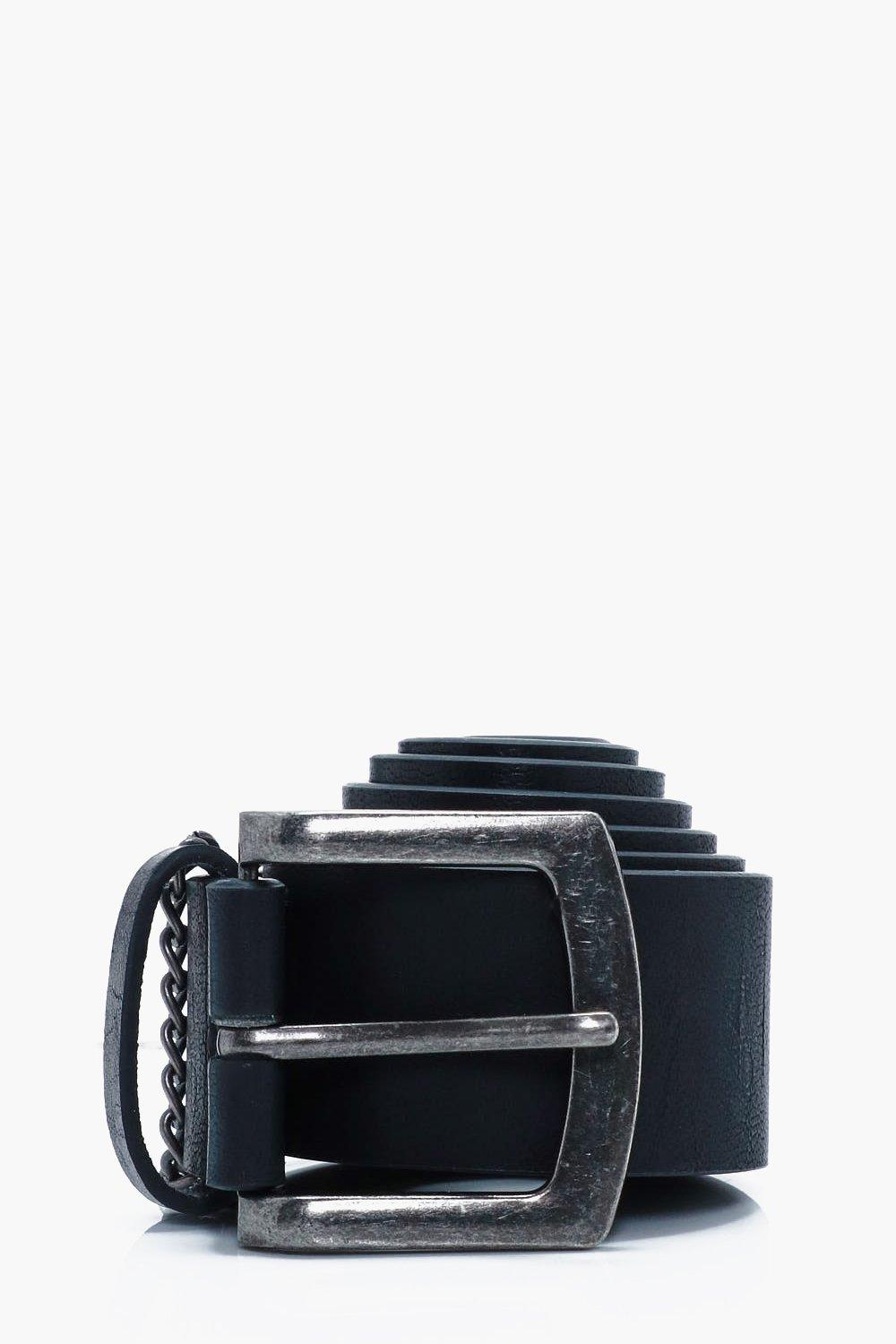 Belt With Chain Detail - black - PU Belt With Chai