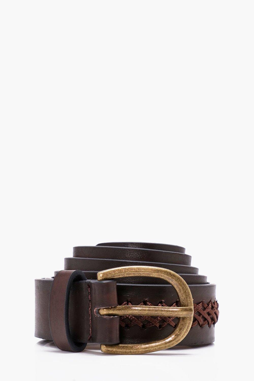 Stitch Detail Belt - brown - Cross Stitch Detail B
