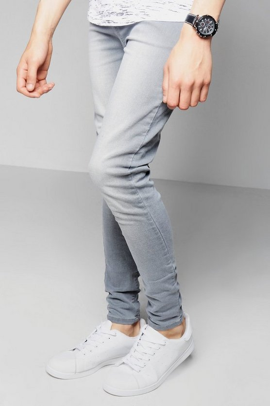Grey Washed Denim Jeans in Super Skinny Fit