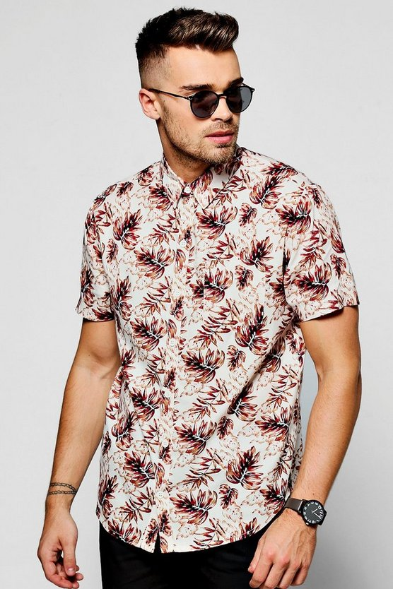 Pink Leaf Print Short Sleeve Shirt