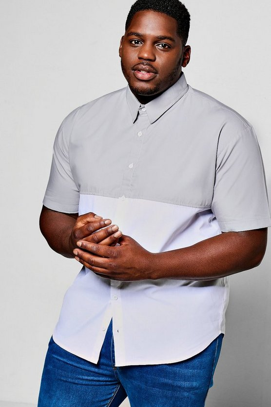 Big And Tall Short Sleeve Colour Block Shirt