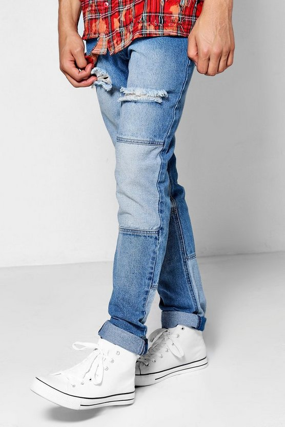 Mid Blue Denim Slim Fit Patchwork Jeans