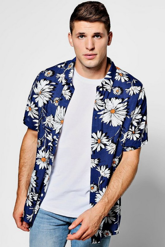 Navy Floral Print Short Sleeve Shirt