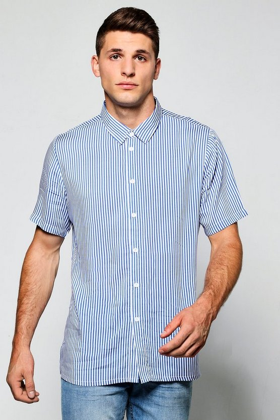 Blue Slim Stripe Short Sleeve Shirt