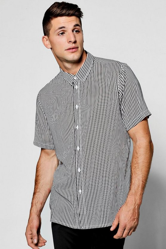 Black Slim Stripe Short Sleeve Shirt