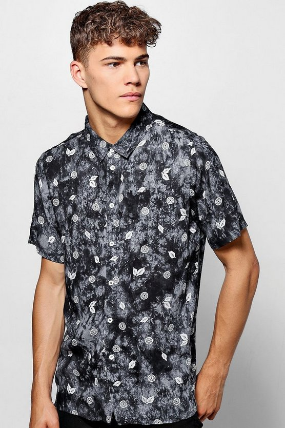 Printed Tie Dye Short Sleeve Shirt