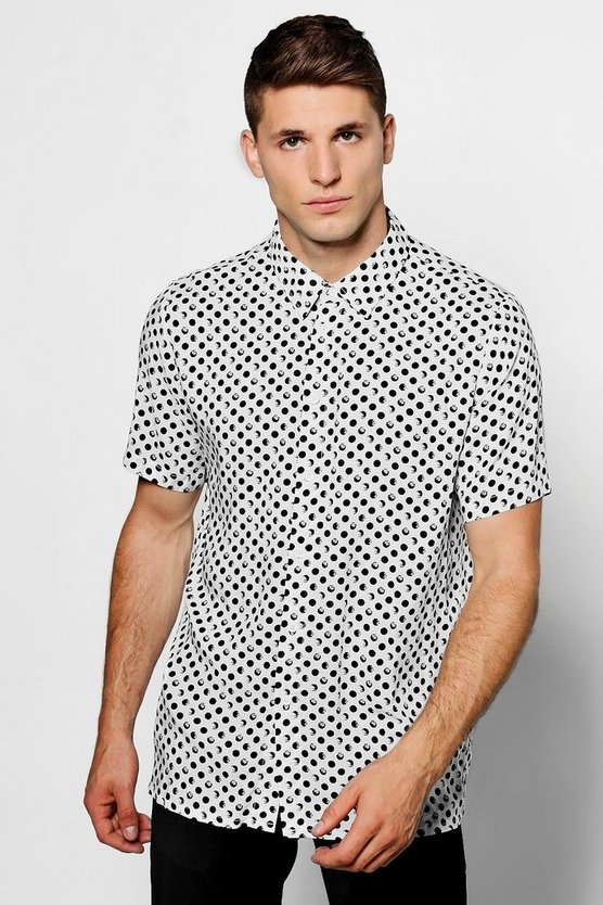 White Polka Dot Short Sleeve Shirt