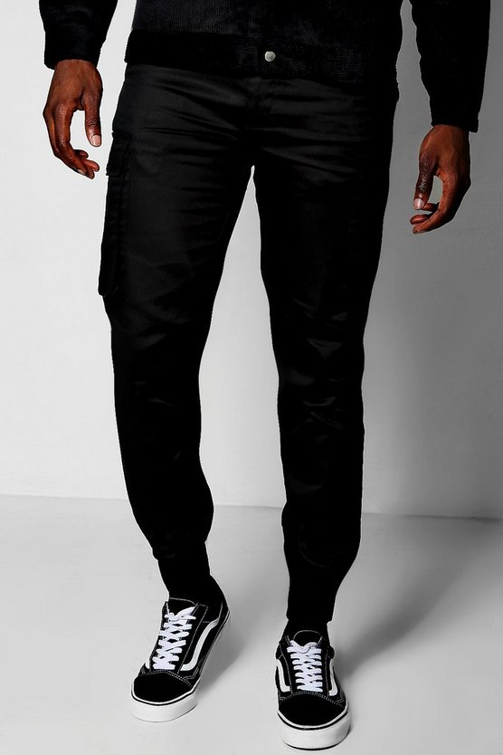 Black Cuffed Cargo Trouser
