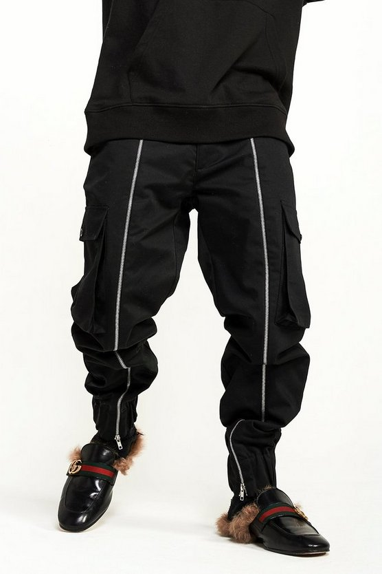 Black Zip Detail Cargo Trouser