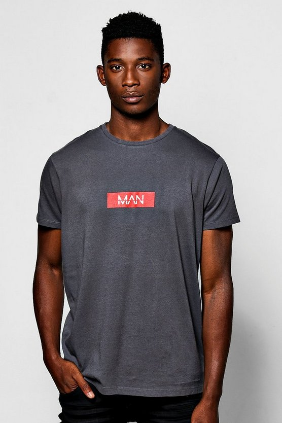 MAN Red Box Logo Print T-Shirt