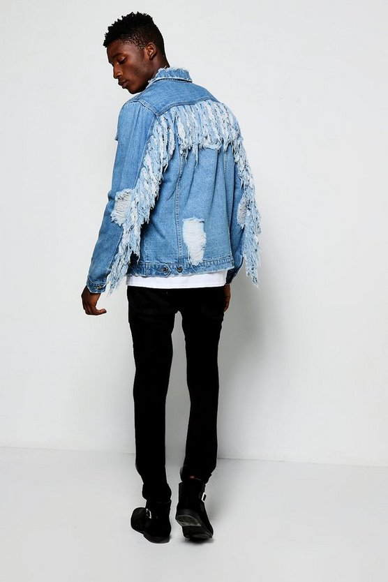 Mid Blue Denim Western Jacket With Tassels