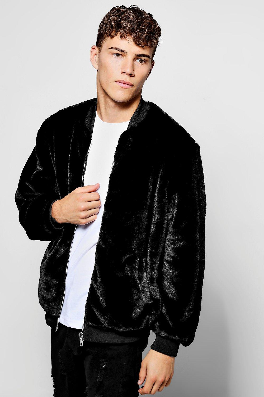 Faux Fur Bomber Jacket - black