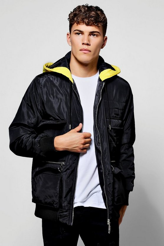 Black Polyester Multi Pocket Utility Jacket