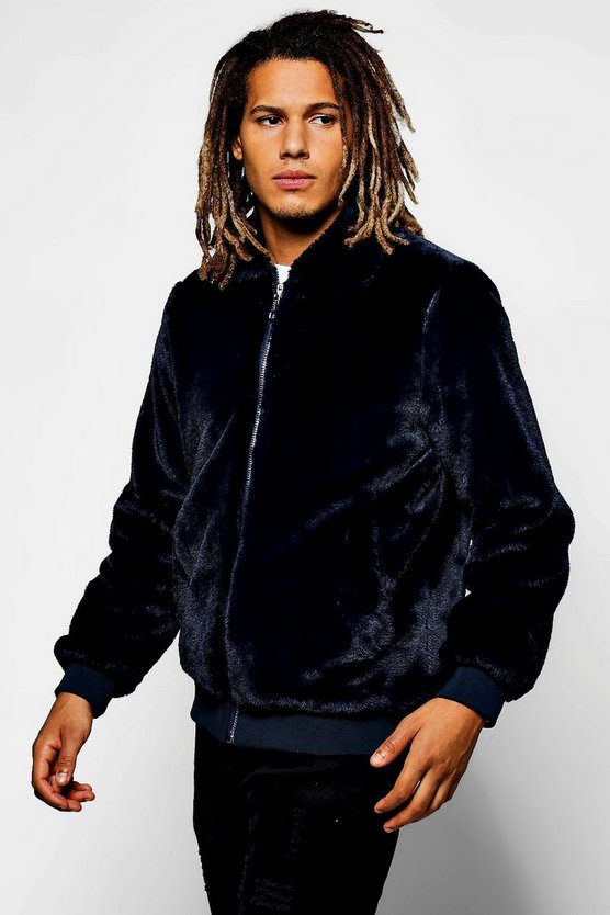 Navy Faux Fur Zip Through Harrington Jacket
