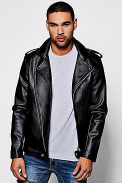 Asymmetric Faux Leather Black Biker Jacket