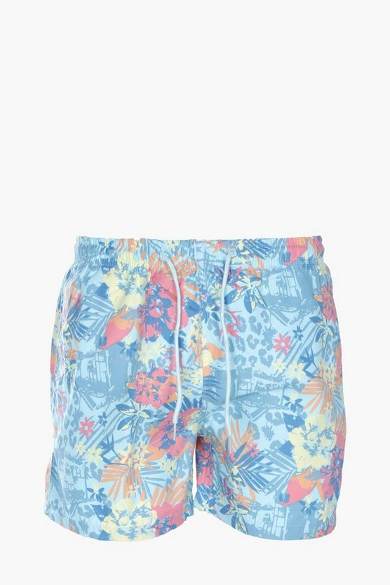Tropical Print Floral Mid Length Swim Short