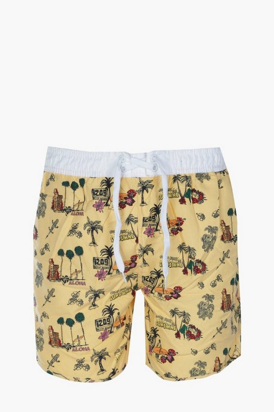 Palm Print Long Swim Shorts