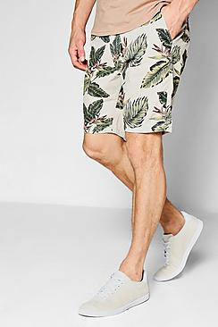 Tropical Print Peached Chino Shorts