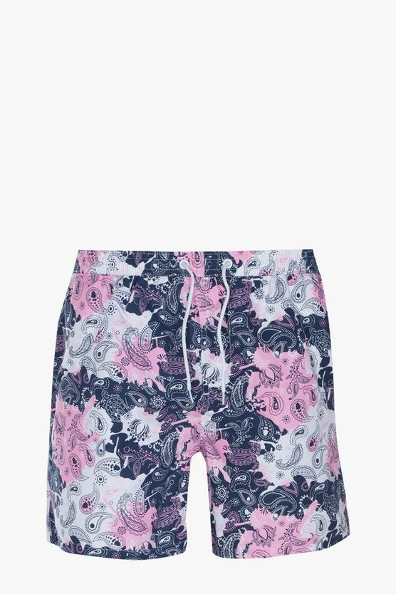 Paisley Print Mid Length Swim Short