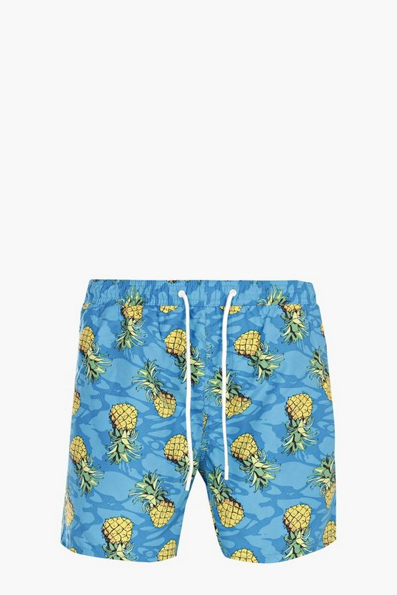 Pineapple Print Mid Length Swim Short
