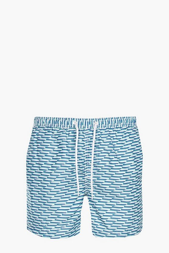 Multi Geo Print Mid Length Swim Shorts