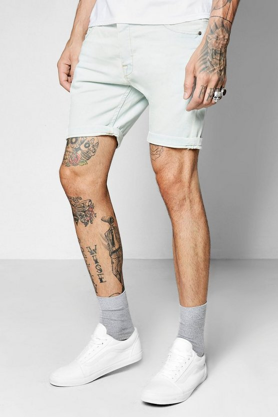 Pale Blue Skinny Fit Denim Shorts