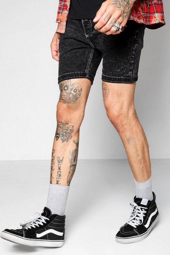 Black Acid Wash Skinny Fit Denim Shorts