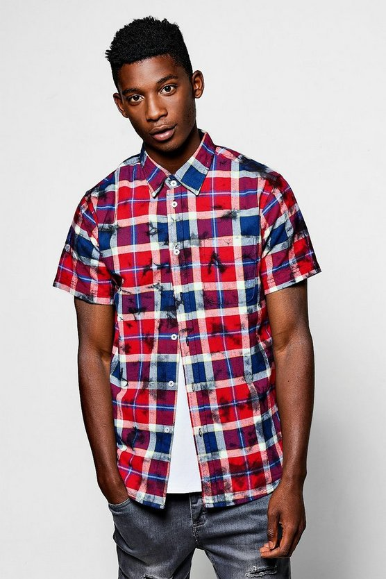 Short Sleeve Over Dye Check Shirt