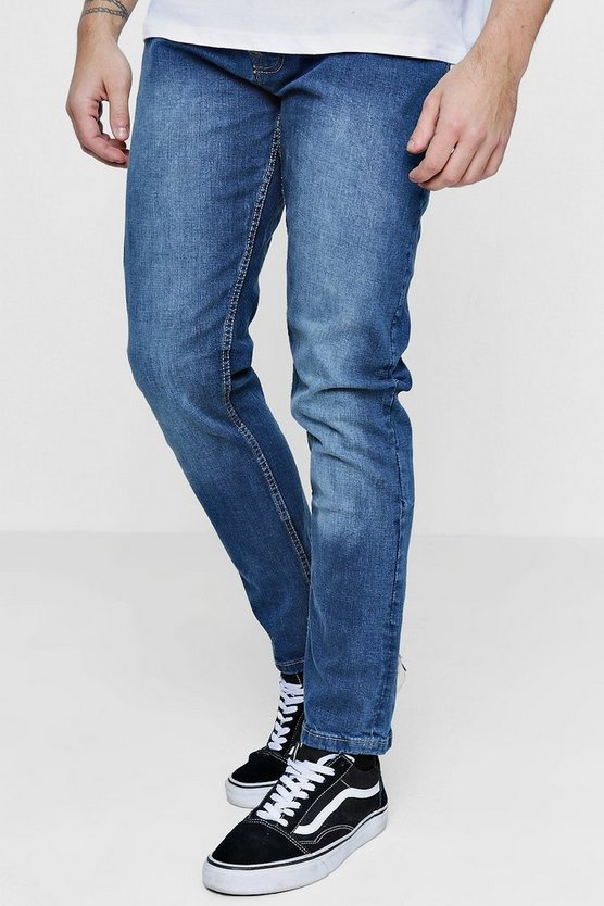 Blue Denim Sandblasted Jeans In Slim Fit