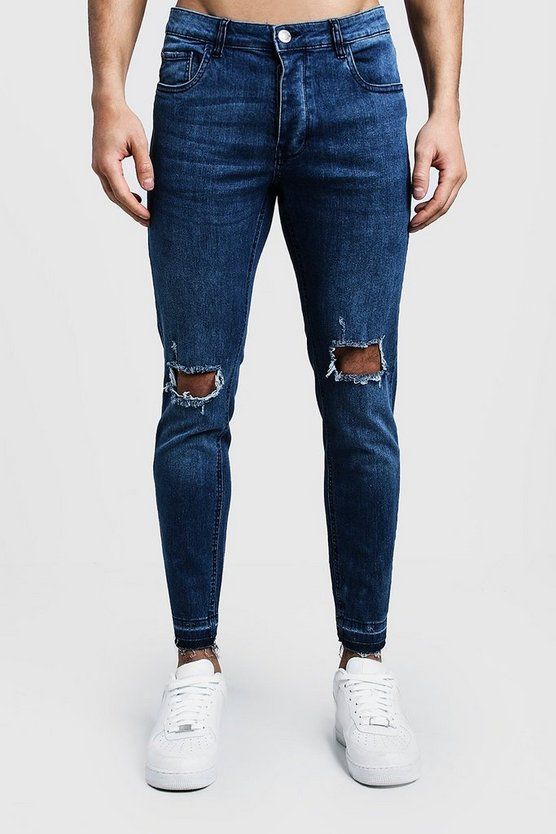 Skinny Fit Mid Blue Jeans With Ripped Knees