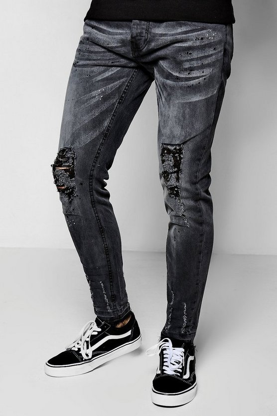 Washed Black Skinny Fit Jeans With Distressed Knee