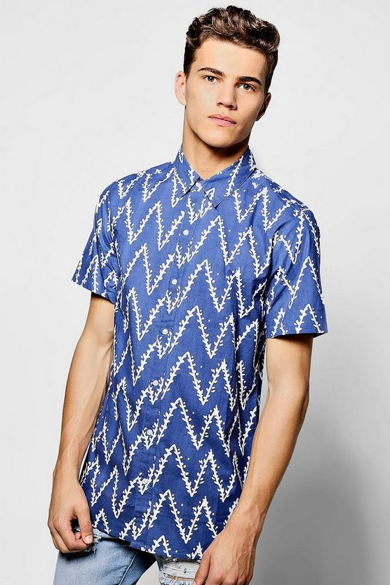 Horizontal Zig Zag Print Short Sleeve Shirt