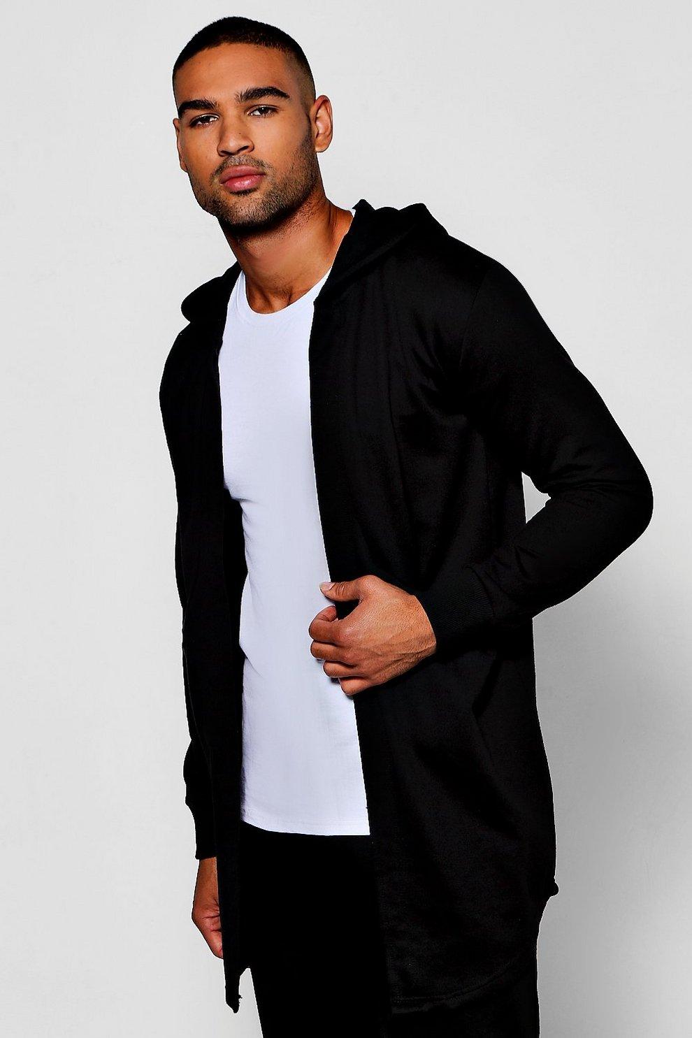Longline Hooded Jersey Cardigan - boohooMAN