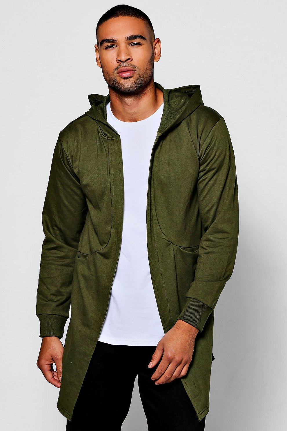 Longline Hooded Jersey Cardigan | Boohoo