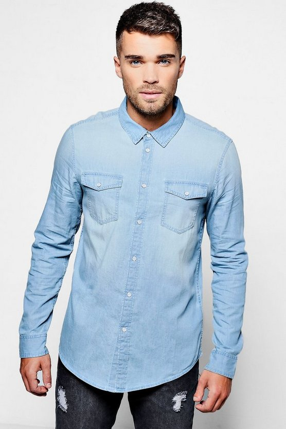 Long Sleeve Blue Pale Wash Denim Shirt