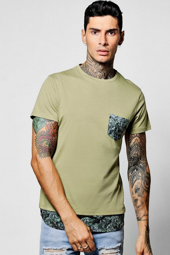 Skater Length T-Shirt With Pocket Hem